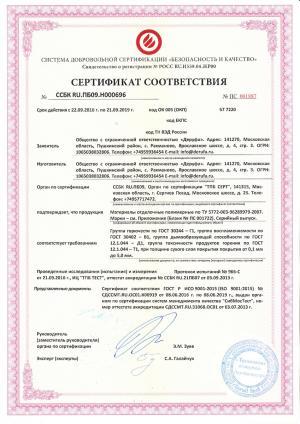 Сертификат на шпатлёвки и штукатурки (стр. 1)